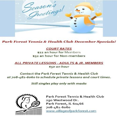 Park Forest Tennis and Health Club December Specials 12_9_20