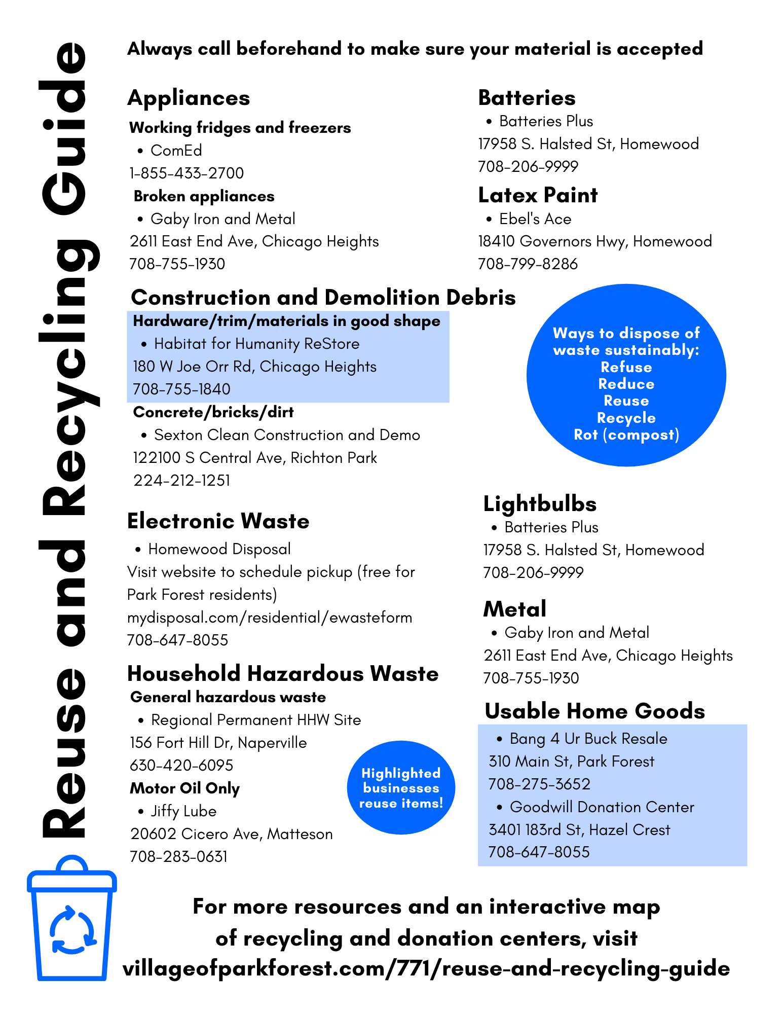 Recycle Guide 1 Page Front
